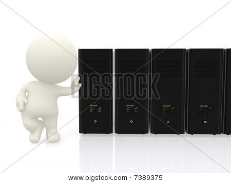 3D Man With Servers In Line