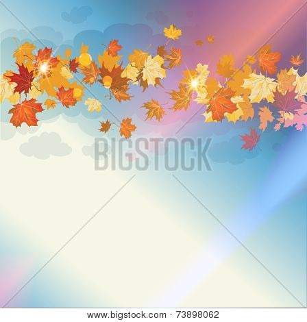Beautiful autumn sky with flying autumn leaves. Place for text.
