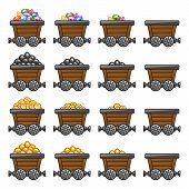 foto of tub  - Mine tub cart set gold sone coins diamonds - JPG