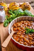 image of scallion  - Spicy cowboy beans with chilli jalapeno scallions and bacon Hassleback Potatoe with herbs - JPG