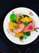 image of duck breast  - duck breast with pears and a green salad - JPG