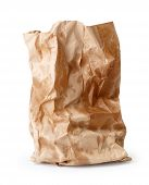 foto of grease  - Crumpled paper bag with grease spots isolated on white - JPG