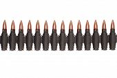 stock photo of akm  - black ammunition belt isolated on white background - JPG