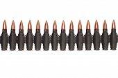 pic of akm  - black ammunition belt isolated on white background - JPG