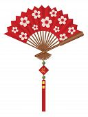 foto of jade  - Red Chinese Paper Fan with Cherry Blossom Flower Pattern Tassel Jade Beads and Sign with Good Fortune Text Vector Illustration - JPG