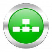 stock photo of cisco  - database green circle chrome web icon isolated  - JPG