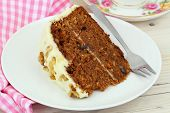 picture of icing  - Carrot cake with walnuts and marzipan icing