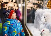 stock photo of fascinating  - Adorable little boy looking through the display window at Christmas decoration in the shop - JPG
