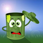foto of stinky  - illustration of Funny green stinky garbage bin - JPG