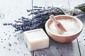 stock photo of lavender plant  - Homemade Soap with Lavender Flowers and Sea Salt - JPG
