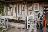 image of workbench  - Gadgeteer workbench and home tool shed with implements - JPG