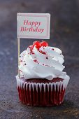 picture of red velvet cake  - festive red velvet cupcakes with a gift compliment card - JPG