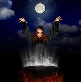 picture of witches cauldron  - Young witch with cauldron on night sky background - JPG