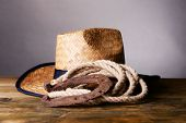stock photo of lasso  - American West still life with old horseshoe - JPG