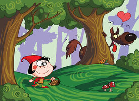 foto of little red riding hood  - Bad Wolf Watching Little Red Riding Hood From Behind A Tree In A Forest - JPG