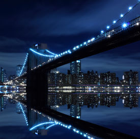 image of brooklyn bridge  - Brooklyn Bridge and Manhattan Skyline At Night - JPG