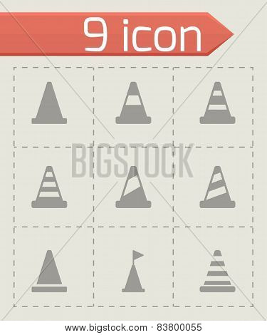 Vector black traffic cone icon set
