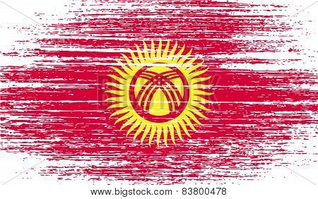 Flag Of Kyrgyzstan With Old Texture. Vector