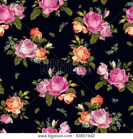 Abstract Seamless Floral Pattern With Pink And Orange Roses On Dark Background