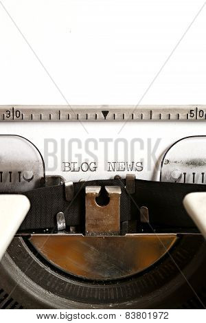 Blog news written on an old typewriter