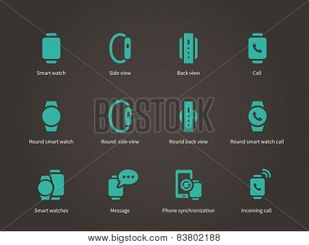 Set of smart watch with smart interface icons set.