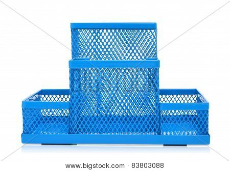 Blue Empty Pencil Holder Isolated On White
