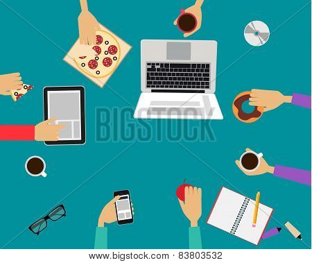 Business people eating lunch together in the office. Vector illustration