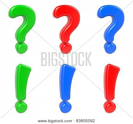 Set Question and Exclamation Mark, Isolated on White.