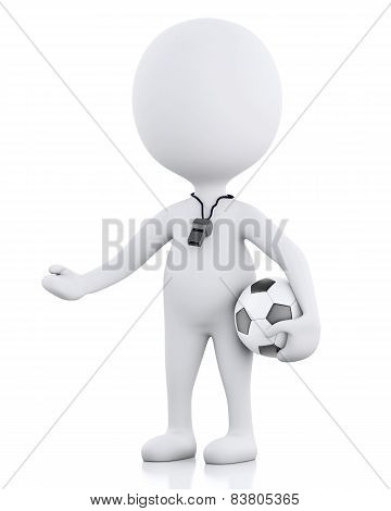 3D White People Soccer Coach. Isolated White Background