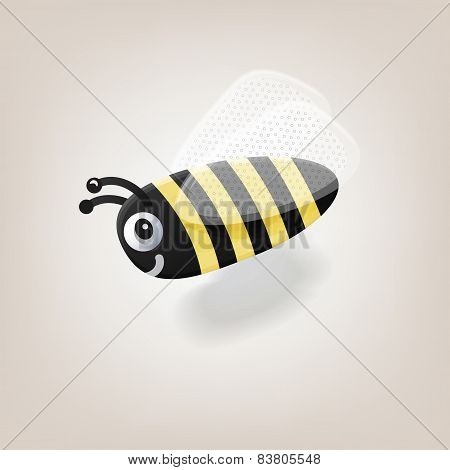 cute little bee flying with shadow. vector illustration