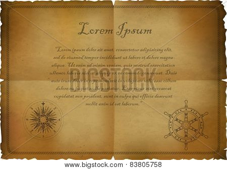 old paper with a picture of the wind rose and helm.vector illustration