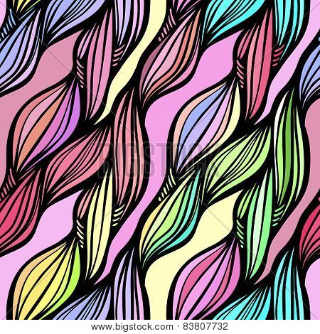 Vector Seamless Colorful Hand Drawn Pattern. Wave Fantasy Background.