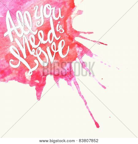 Doodle Watercolor Lettering Symbol Of Love And Valentines Day