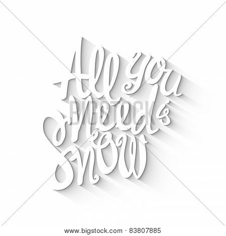 Doodle Lettering Symbol Of Snow And Winter