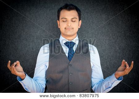 Meditating Business Man