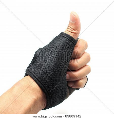 Male Hand Wearing Cycling Gloves