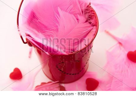 Valentines Day - Decorations, Pink Feathers And Heart Shaped Candies