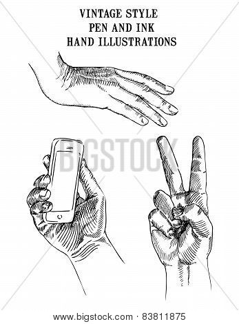 Set of Hand Illustrations cell