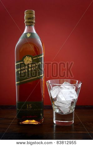 Adelaide, South Australia – February 23, 2015: Photo Of A Bottle Of Johnnie Walker Green Label Pure