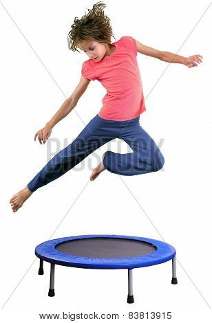 Child Exercising And Jumping On A Trampoline