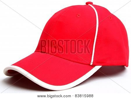 Red Baseball Cap On A White Backgroundisolated Cap.