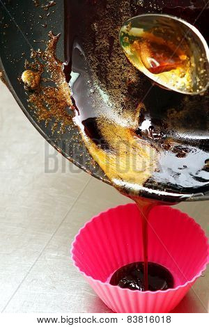 To Melt The Sugar In A Pan. Interfere With Melted Sugar Spoon