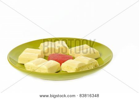 Green Plate White Chocolate Red Jujube