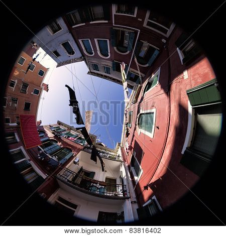Linen Drying In Burano, Venice. Fisheye Photo
