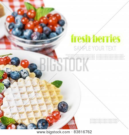 Waffles With Fresh Berries Isolation