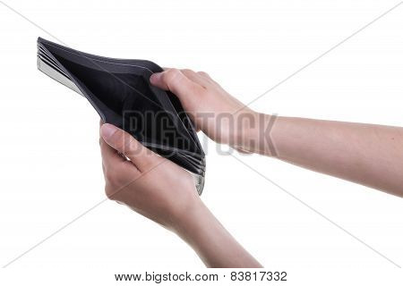 Female Hands Holding Empty Leather Wallet On White Background