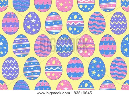 Hand Drawn Easter Eggs in a Seamless Pattern