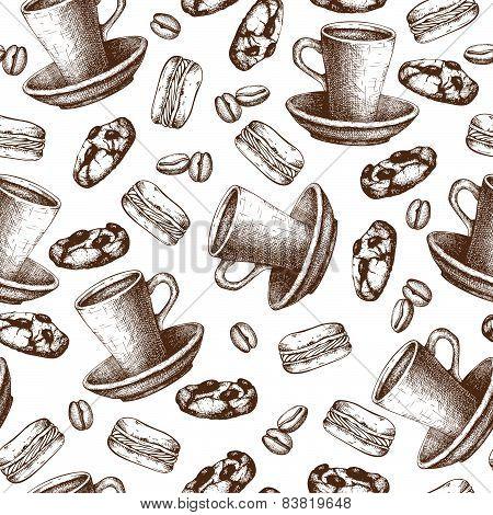 Vintage coffee sketch background.
