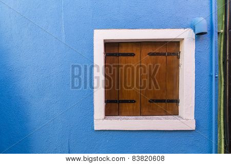Detail Of A Window On A Colorful Wall In Venice