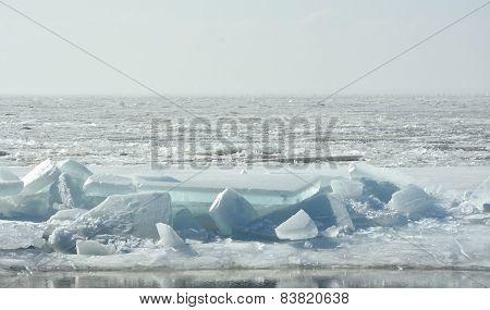 Hummock On The Frozen Sea Shore At Spring Season